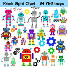 Cute Robots Digital Clipart 38 Piece PRINTABLE by BridalBust
