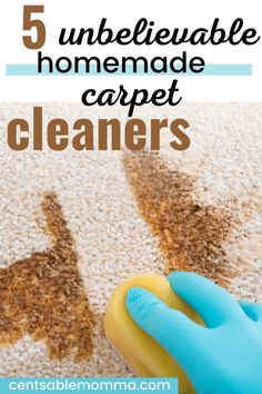 Do you have a spot on your carpet that's dirty, but you don't know how to remove it or want to use hazardous chemicals to clean it?. Try these 5 unbelievable homemade deep carpet cleaning hacks and recipes to get your carpet looking new again. Deep Carpet Cleaning, How To Clean Carpet, Carpet Cleaners, Carpet Stains, Spring Cleaning, Cleaning Hacks, Homemade, Recipes, Home Made