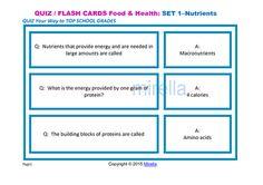 QUIZ Your Way to TOP SCHOOL GRADES  Food & Health QUIZ CARDS cover different…