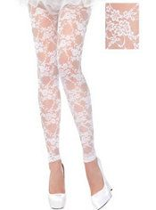 White Lace Footless Tights
