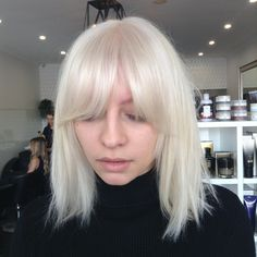 Ice blonde and bangs solid heavy fringe
