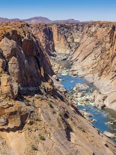 Orange River Gorge by zambezi on PhotoDune. The Orange River Gorge below the waterfall in the Augrabies Falls National Park in the Northern Cape of South Africa. Augrabies Falls, African States, World View, Camping World, Travel Photos, South Africa, Waterfall, Beautiful Places, Scenery
