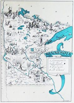 Minnesota Map - Vintage Map of Minnesota - A Fun and Funky Little Picture Map to Frame - State Picture Maps are a Perfect Housewarming Gift