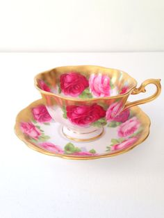 Vintage English Bone China Royal Albert Tea Cup and Saucer Old English Rose Pattern Avon Shape Cup Tea Party Replacement China / Vintage item from the 1950s