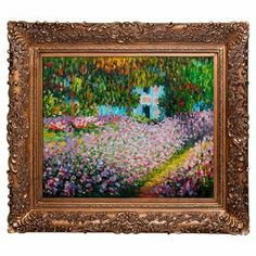 """Add museum-worthy appeal to your living room or study with this eye-catching framed canvas print of Claude Monet's The Artist's Garden.   Product: Framed canvas printConstruction Material: Canvas and woodColor: Gold frameFeatures:  Handmade oil painting reproductionReady to hangDesigned by Claude Monet Dimensions: 29.5"""" H x 33.5"""" WCleaning and Care: Wipe clean with a damp cloth"""
