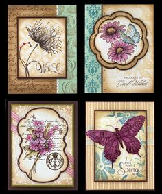 Pretty colours! sample board with #pennyblack stamps...but the photo does Not link to penny black? but in my blog there is a card with that butterfly...  visit me at My Personal blog: http://stampingwithbibiana.blogspot.com/