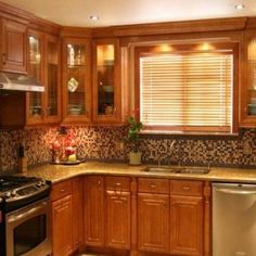 Oak Kitchen Cabinets With Silver Appliances , Durable Oak Kitchen Cabinets In Furniture Category