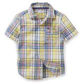 Wear this classic plaid shirt with flat front shorts or pants for a dressy but not fussy look