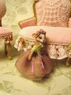 Jill Dianne - Tiny jointed delicate Victorian Rabbit Ballerina  - Dollhouse Miniature Art Doll. $195.00, via Etsy.