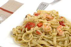 Fettucine aux crevettes...sauce crémeuse au vin blanc
