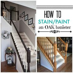 I finally tackled those outdated ugly orange oak stair banisters! What a differe… I finally tackled those outdated ugly orange oak stair banisters! What a difference it makes, right? It really is very easy to do, and it… Stair Banister, Banisters, Diy Stair, Painted Banister, Railings For Stairs, Stair Decor, Painted Wood, Home Upgrades, Home Renovation