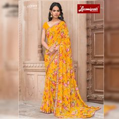 Get this Picturesque Multi Colored Georgette #Floral_Printed #Saree and Mustard Georgette Blouse along with Rawsilk Lace Border from Laxmipati Sarees. #Catalogue #JAMUNIA #DesignNumber: 4536 #Price - ₹ 1525.00  #Bridal #ReadyToWear #Wedding #Apparel #Art #Autumn #Black #Border #MakeInIndia #CasualSarees #Clothing #ColoursOfIndia #Couture #Designer #Designersarees #Dress #Dubaifashion #Ecommerce #EpicLove #Ethnic #Ethnicwear #Exclusivedesign #Fash Laxmipati Sarees, Phulkari Saree, Kasavu Saree, Lehenga Style Saree, Georgette Sarees, Silk Sarees, Sari, Bandhini Saree, Velvet Saree