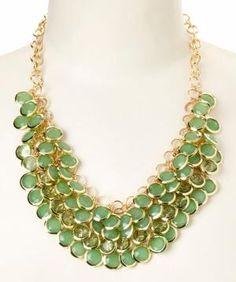 Gold & Mint Green Cluster Bib Necklace by liz