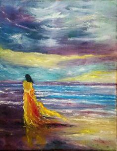Original Painting Oil on canvas Beach seascape ocean sky woman signed artist