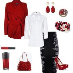 Love the red accents!  LOVE the purse!
