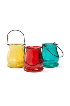"Set of 3 glass tealight lanterns. Red Gold & Turquoise. Has iron handle. Each lantern measures 4"" high x 3 1/2"" wide. Holds standard tealight or votive candle.  Tealight Lanterns Set by Tag Ltd.. Home & Gifts - Home Decor - Lighting Nebraska"