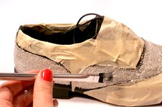 How to glitter your own shoes.  Understand that I do not want to do it to these shoes but...(see next pin)