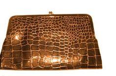 Brown Large Kiss Lock Double Frame Wallet Glossy Crocodile Texture (Brown) Roger Enterprises. $19.99
