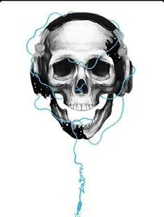 Skull & Headphones (B&W Illustration) ♥ ♥ ♥ Skull Headphones, Headphones Tattoo, Music Headphones, Punisher Skull, Images Graffiti, Totenkopf Tattoos, Estilo Rock, 3d Prints, Skull Design