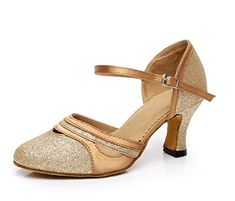 Minitoo QJ7012 Womens Round Toe Heel Gold Suede Ballroom Latin Dance Pumps 95 M US *** Read more  at the image link.