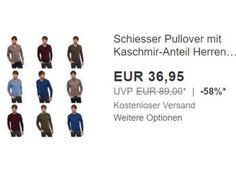 """Schiesser: Pullover mit Kaschmir-Anteil für 36,95 Euro frei Haus https://www.discountfan.de/artikel/klamotten_&_schuhe/schiesser-pullover-mit-kaschmir-anteil-fuer-36-95-euro-frei-haus.php Schiesser-Pullover mit Kaschmir-Anteil sind jetzt bei Ebay als """"Wow! des Tages"""" zum Schnäppchenpreis von 36,95 Euro mit Versand zu haben. Discountfans haben die Wahl zwischen neun Modellen in den Größen S bis 2 XL. Schiesser: Pullover mit Kaschmir-Anteil für 36,95 Euro fre"""