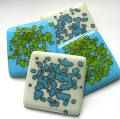 Spring Fling Fused Glass Drinks Coasters by nanettebevan on Etsy