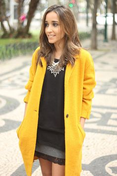 Yellow Coat and lace skirt - BeSugar&Spice