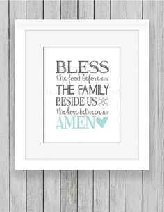 Bless The Food Before Us Print Printable Home by TwinkleMeDesigns
