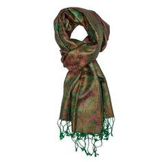Dark Green Jamavar Silk Scarf