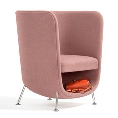 This chair created by Stone Designs for Swedish furniture company Blå Station features an extra compartment to keep restaurants, bars and hotel lobbies free of clutter. It features a scoop-shaped shell, sitting on four steel legs.