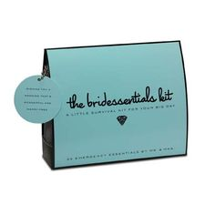 """Bridessentials Kit by @Krystal Bennett Provisions. Contains 25 must-haves including: Folding Hair Brush with Mirror, Hair Spray, Bobby Pins, Earring Backs, Facial Tissues, Blotting Tissues, Emery Board, Clear Nail Polish, Nail Polish Remover, Mending Kit, Scissors, Safety Pins, Double-Sided Tape, Stain Remover, Static Remover, Super Glue, """"Something Blue"""" Heart-Shaped Crystal, Extra Wedding Bands and more! #emergency #survival #kit #wedding #bride #bridal #shower"""