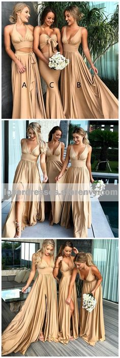 Sexy Mismatched Side Slit Long Gold Bridesmaid Dresses, WG229 #bridesmaiddresses #wedding