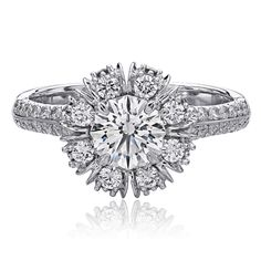 Christopher Designs white diamond ring with Crisscut Round Diamond Center surrounded by round diamonds. White Diamond Ring, White Gold Rings, Pretty Rings, Beautiful Rings, Christopher Designs, Titanic Jewelry, Jewelry Photography, Diamond Are A Girls Best Friend, Fashion Rings