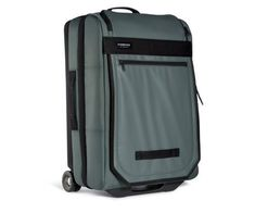 An ultra light rolling clamshell suitcase with sleek styling.