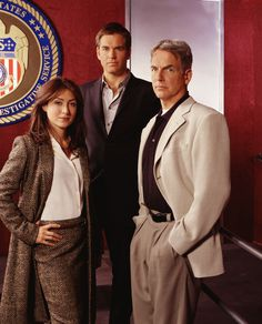 Season 1 Promo - Cast of NCIS: Sasha Alexander as Caitlin Todd,  Michael Weatherly as Anthony DiNozzo,  and Mark Harmon as Leroy Jethro Gibbs.