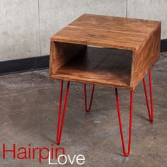 DIY: Quick & Easy Mid-Mod Table - add hairpin legs to a crate, tabletop, etc. for instant modern style!