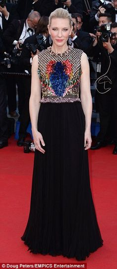 Cate Blanchett Givenchy embellished bodice dress with pleated maxi skirt