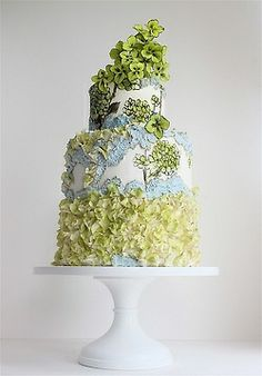 Hydrangeas Hand-Painted Wedding Cake - the perfect example of how stunning textured icing mixed with paint on fondant can look!