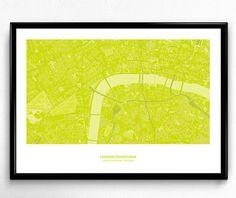 London Downtown Map Poster Art Monochromatic Color de FlatMates en Etsy