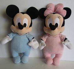 "Lot 2 Disney Babies Minnie & Mickey Mouse Plush Stuffed Baby Dolls 13"" & 14"" #Disney"