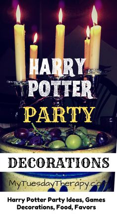 Harry Potter Party Decorations on Budget. Host a magical Harry Potter Birthday Party or Halloween Party with these ideas on decorations, games, food, favors. A great theme for boys and girls. Party ideas for teens. This is also an awesome baby shower theme.