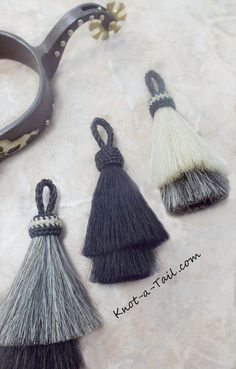NEW COLORS Horsehair tassel tasse  Double layer horse by Knotatail