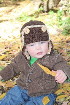 Baby Boy Aviator Hat, Crochet Earflap Hat, Baby Boy Crochet Hat, Toddler Boy Crochet Hat, Crochet Beanie. $12.00, via Etsy.