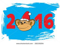 Monkey. Cartoon animals. Coloring. Symbol of New Year 2016 for your design. Retro background Blue Happy New Year. Vector illustration - stock vector