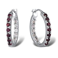 Ruby and White Sapphire Inside Out Hoop Earrings in Sterling Silver