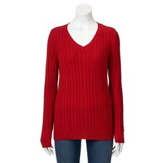 Croft & Barrow® Essential Cable-Knit V-Neck Sweater - Women's