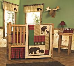 rustic cabin baby nursery decorating pictures decor crib bedding sets theme bear moose wolf