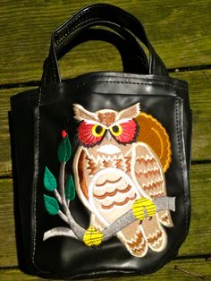 Vegan Black Leather Embroidered Owl Purse by EuphoriaNineDesigns