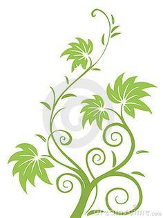 drawings of flowers leaves and vines | Illustration drawing of green leaves and vines pattern.