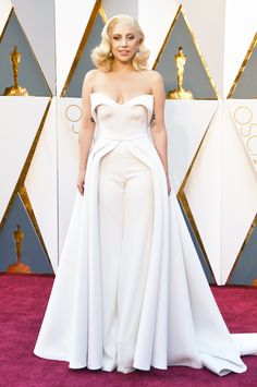 Lady Gaga stunned in a Brandon Maxwell jumpsuit at the Academy Awards.